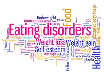 Eating disorders words - tag cloud illustration